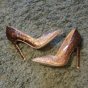 NWOT Silver Ombre Glitter High Heels Dressy Shoes